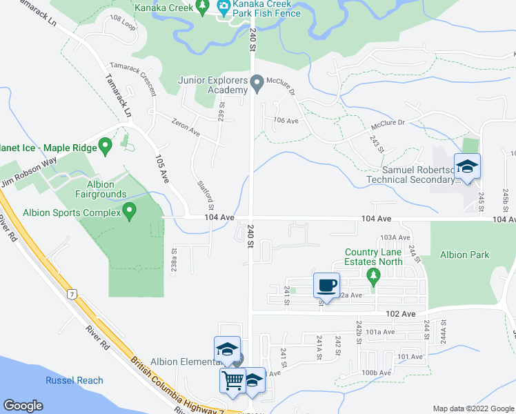 map of restaurants, bars, coffee shops, grocery stores, and more near 10420 240 Street in Maple Ridge