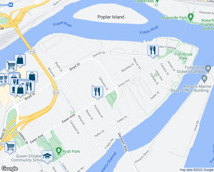 map of restaurants, bars, coffee shops, grocery stores, and more near 313 Johnston Street in New Westminster