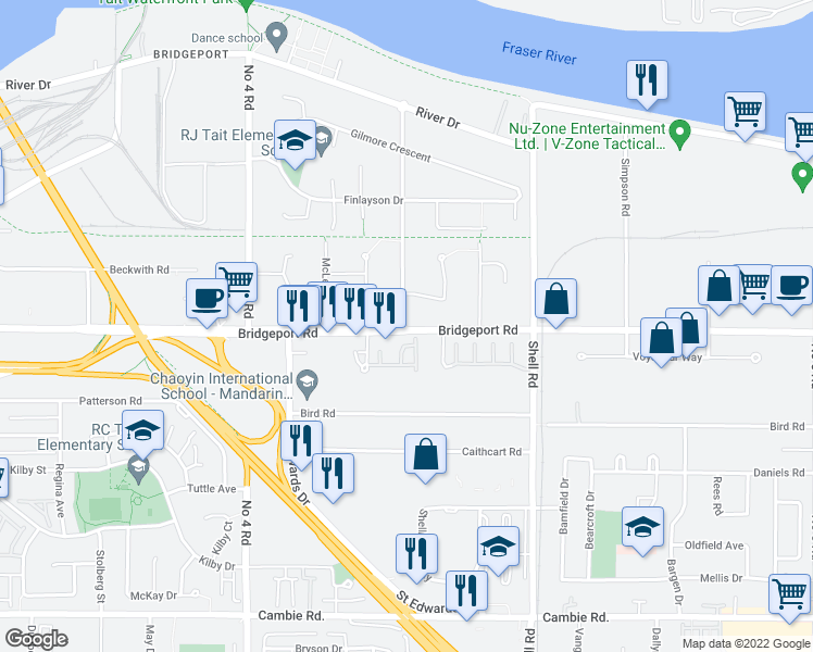 map of restaurants, bars, coffee shops, grocery stores, and more near 10451 Bridgeport Road in Richmond