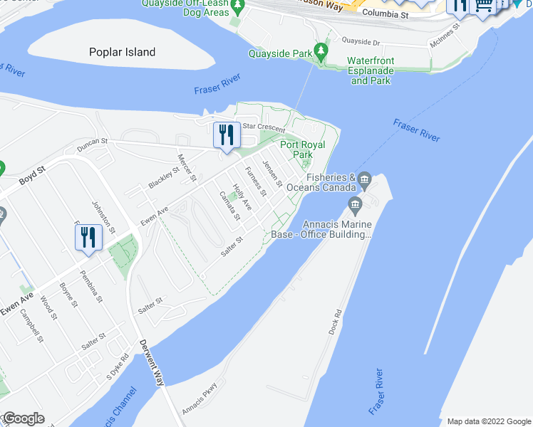 map of restaurants, bars, coffee shops, grocery stores, and more near 257 Salter Street in New Westminster