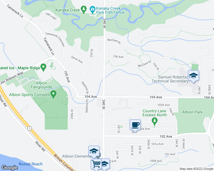 map of restaurants, bars, coffee shops, grocery stores, and more near 10456 240 Street in Maple Ridge