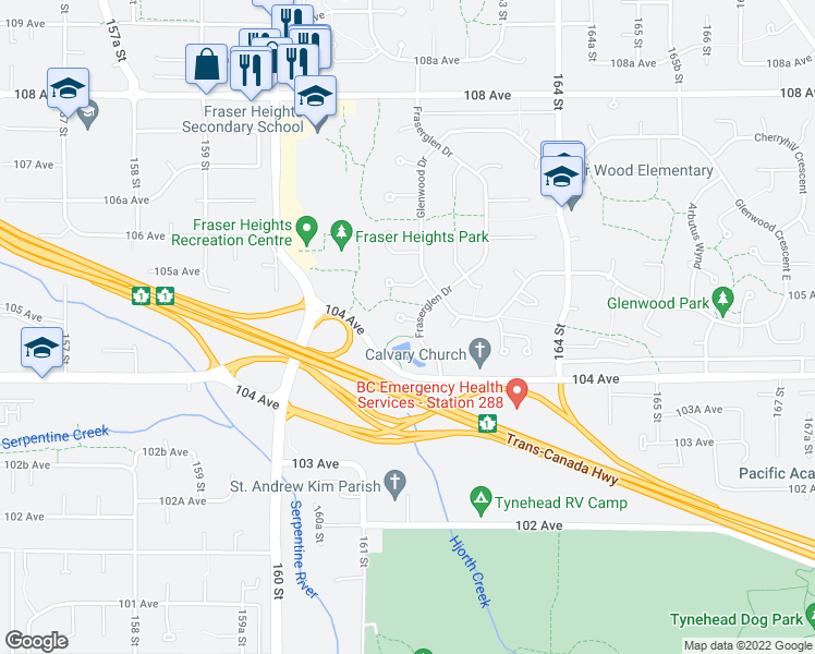 map of restaurants, bars, coffee shops, grocery stores, and more near 16188 Glenbrook Place in Surrey