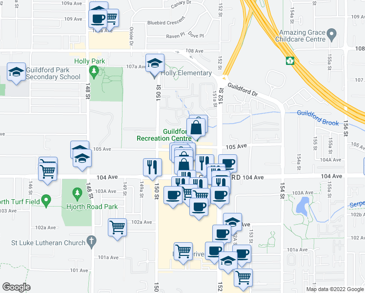 map of restaurants, bars, coffee shops, grocery stores, and more near 105 Avenue in Surrey