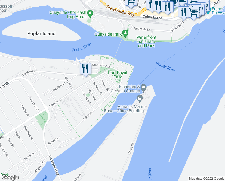 map of restaurants, bars, coffee shops, grocery stores, and more near 229 Salter Street in New Westminster