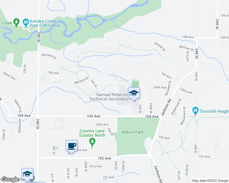 map of restaurants, bars, coffee shops, grocery stores, and more near 24629 105A Avenue in Maple Ridge