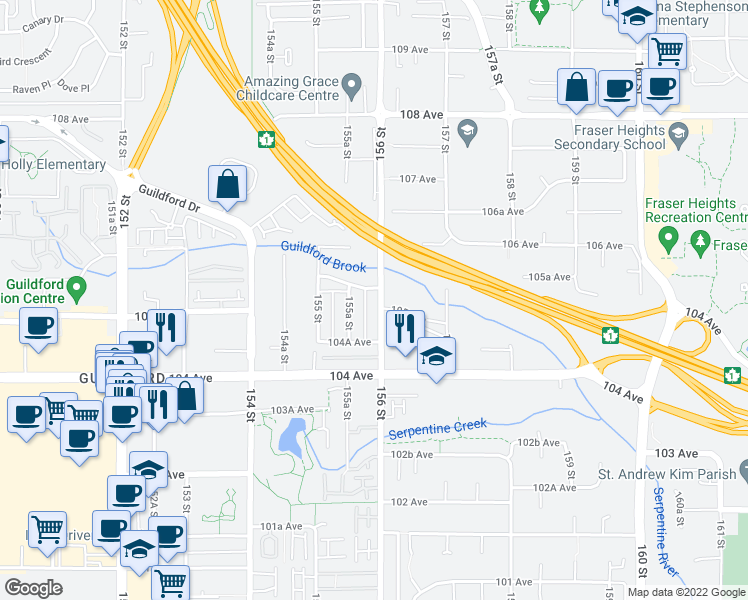 map of restaurants, bars, coffee shops, grocery stores, and more near 10515 156 Street in Surrey