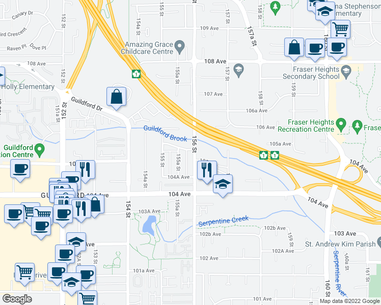 map of restaurants, bars, coffee shops, grocery stores, and more near 10525 156 Street in Surrey