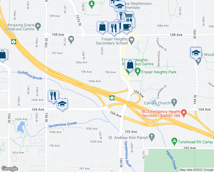 map of restaurants, bars, coffee shops, grocery stores, and more near 15938 105 Avenue in Surrey