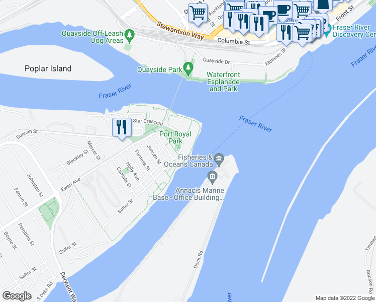map of restaurants, bars, coffee shops, grocery stores, and more near 220 Salter Street in New Westminster