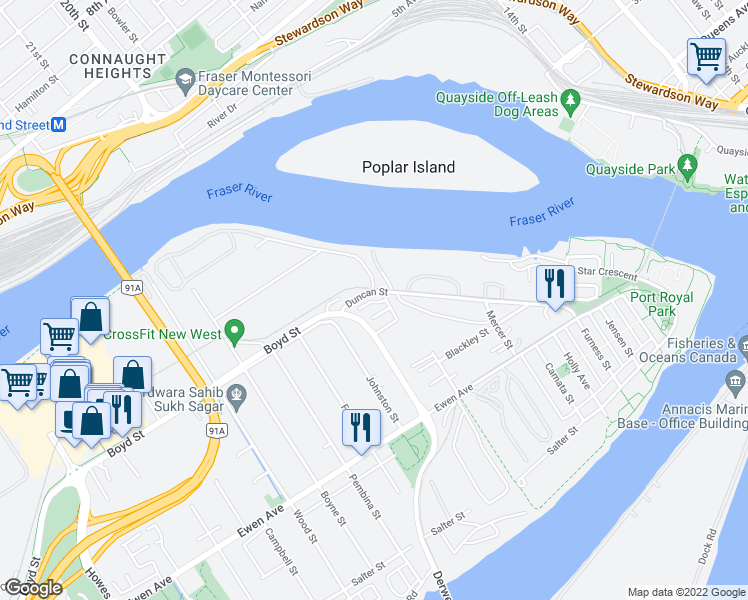 map of restaurants, bars, coffee shops, grocery stores, and more near 430 Duncan Street in New Westminster