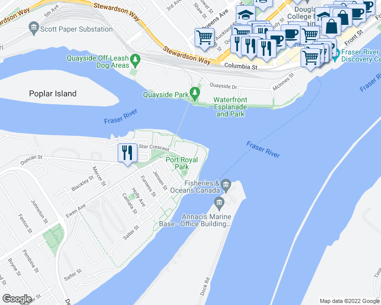 map of restaurants, bars, coffee shops, grocery stores, and more near 202 Salter Street in New Westminster