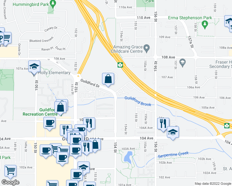 map of restaurants, bars, coffee shops, grocery stores, and more near 15399 Guildford Drive in Surrey