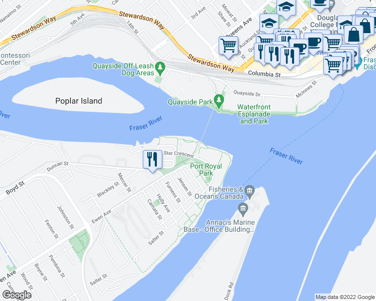 map of restaurants, bars, coffee shops, grocery stores, and more near 83 Star Crescent in New Westminster