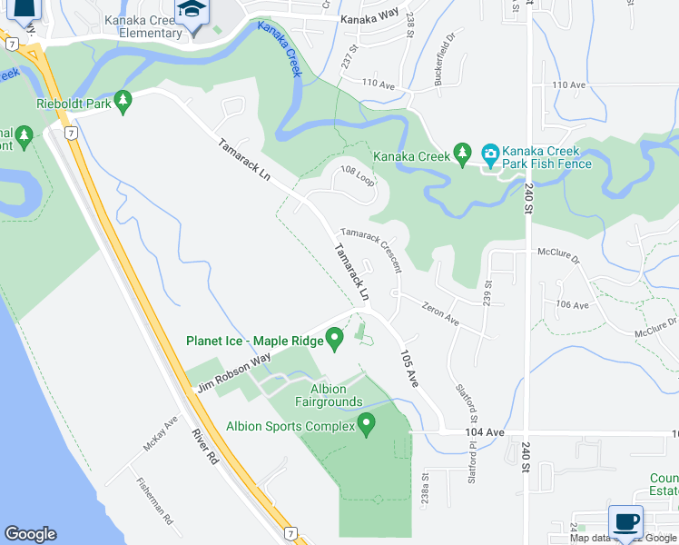 map of restaurants, bars, coffee shops, grocery stores, and more near 23667 Tamarack Lane in Maple Ridge