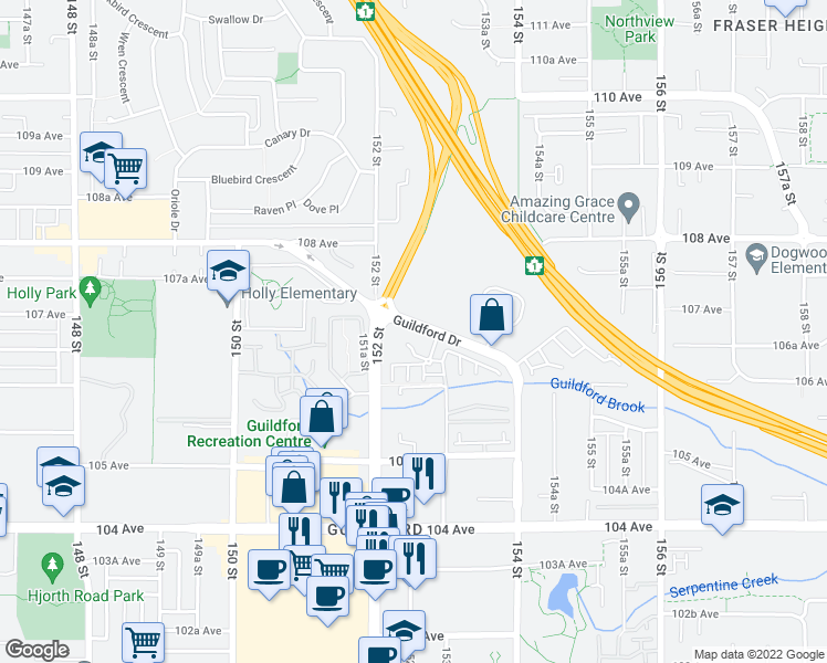 map of restaurants, bars, coffee shops, grocery stores, and more near 15210 Guildford Drive in Surrey