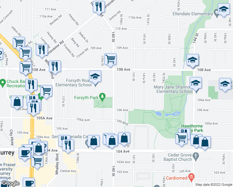 map of restaurants, bars, coffee shops, grocery stores, and more near 10688 140 Street in Surrey