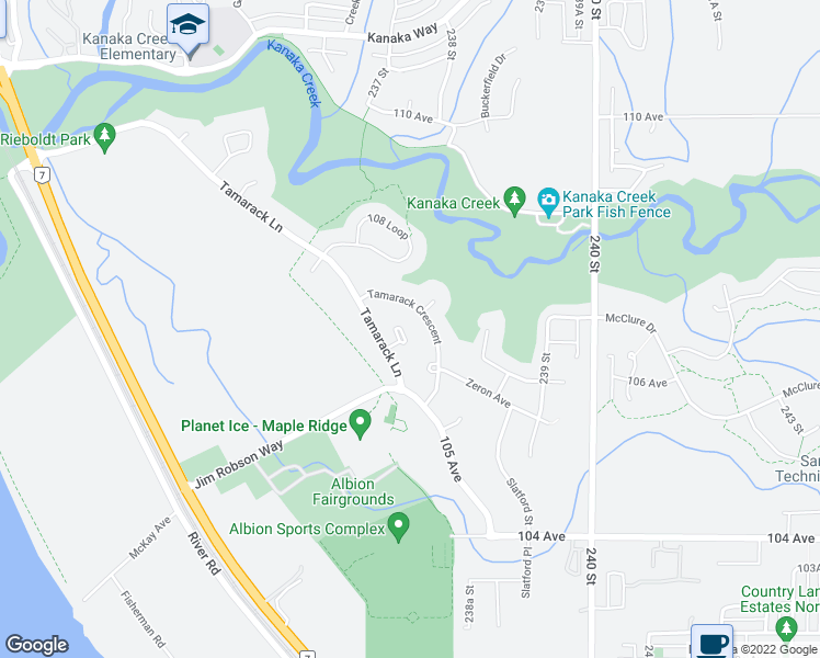 map of restaurants, bars, coffee shops, grocery stores, and more near 23715 106 Avenue in Maple Ridge