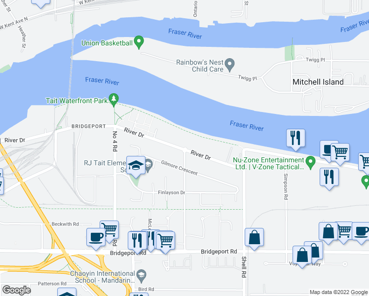 map of restaurants, bars, coffee shops, grocery stores, and more near 10199 River Drive in Richmond