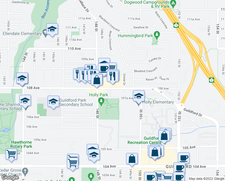 map of restaurants, bars, coffee shops, grocery stores, and more near 14880 108 Avenue in Surrey