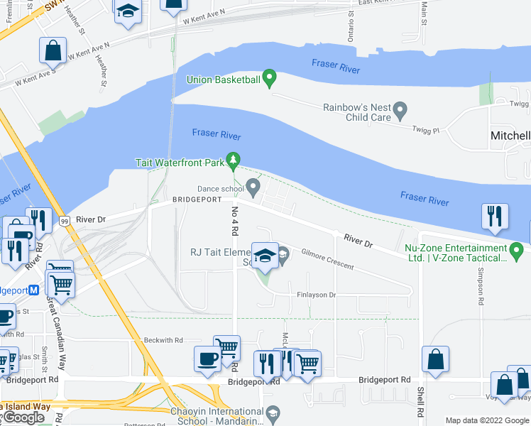 map of restaurants, bars, coffee shops, grocery stores, and more near 10180 River Drive in Richmond