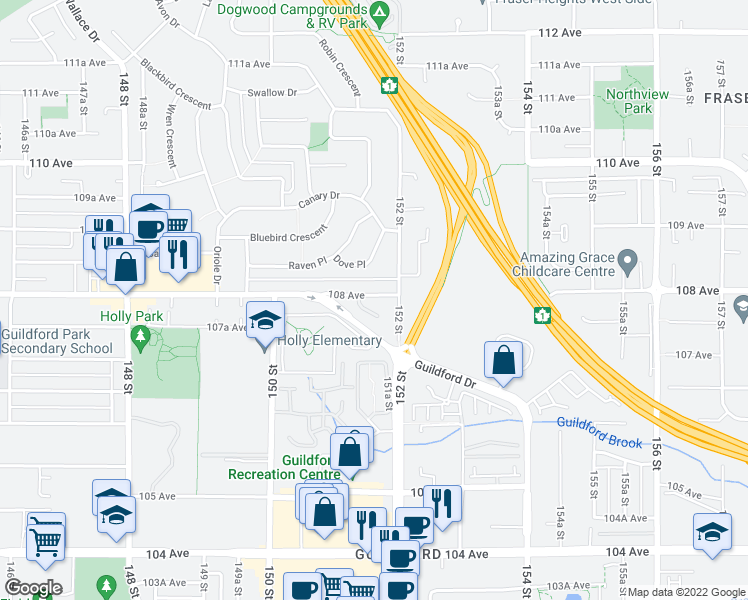 map of restaurants, bars, coffee shops, grocery stores, and more near 15140 108 Avenue in Surrey
