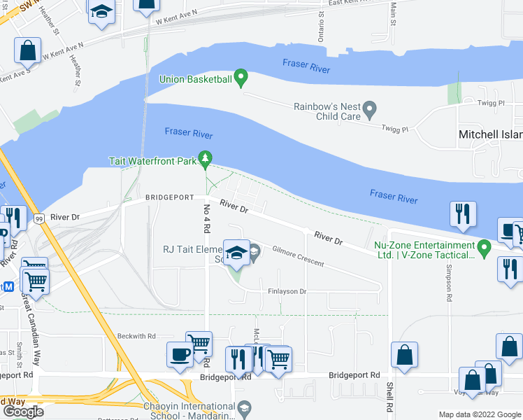 map of restaurants, bars, coffee shops, grocery stores, and more near 10177 River Drive in Richmond