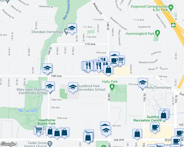 map of restaurants, bars, coffee shops, grocery stores, and more near 14685 108 Avenue in Surrey