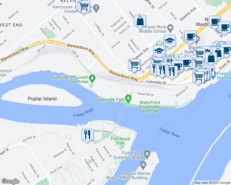 map of restaurants, bars, coffee shops, grocery stores, and more near 3 Renaissance Square in New Westminster