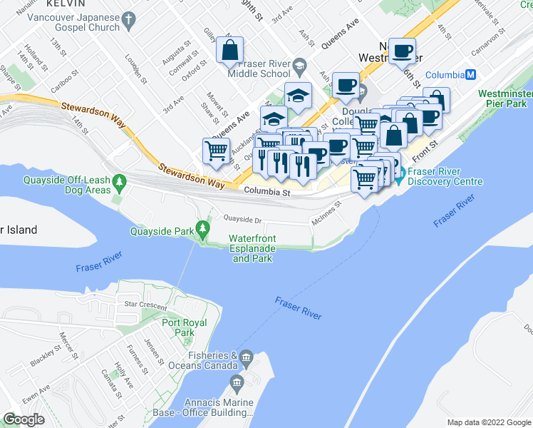 map of restaurants, bars, coffee shops, grocery stores, and more near 1135 Quayside Drive in New Westminster