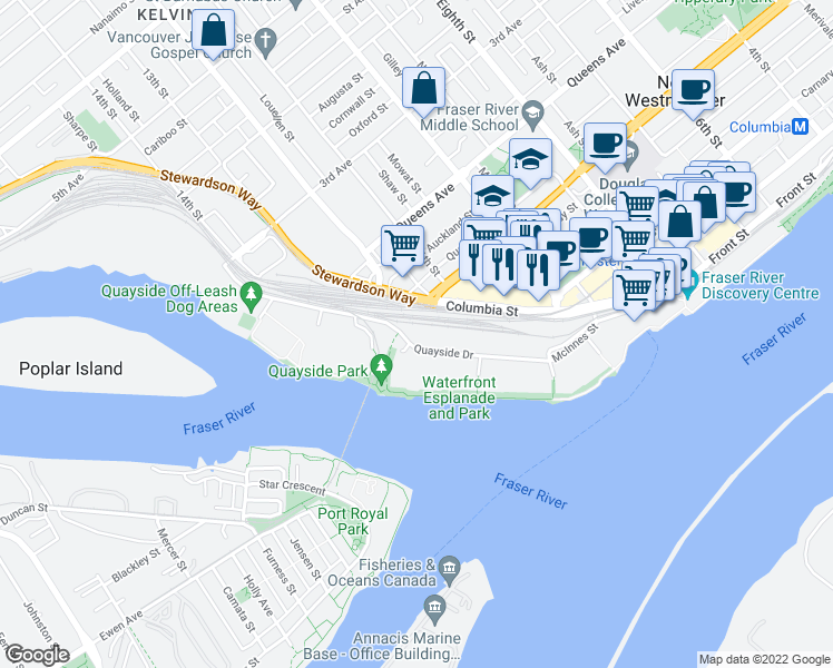 map of restaurants, bars, coffee shops, grocery stores, and more near 1245 Quayside Drive in New Westminster