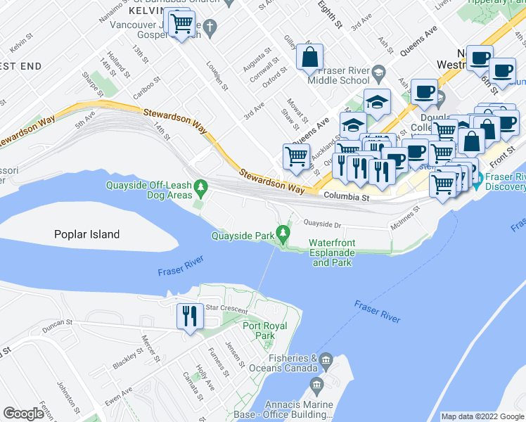 map of restaurants, bars, coffee shops, grocery stores, and more near 12 Laguna Court in New Westminster
