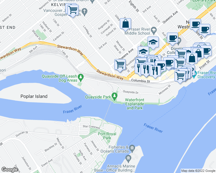 map of restaurants, bars, coffee shops, grocery stores, and more near 10 Laguna Court in New Westminster