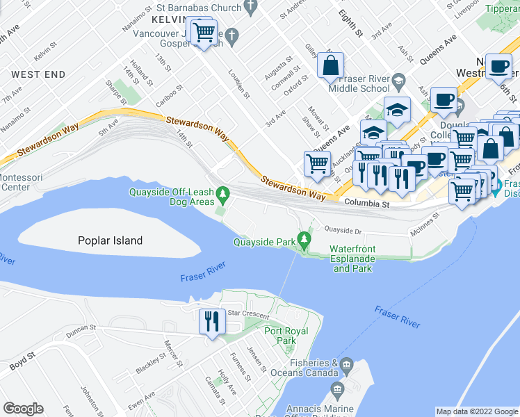 map of restaurants, bars, coffee shops, grocery stores, and more near 10 Renaissance Square in New Westminster