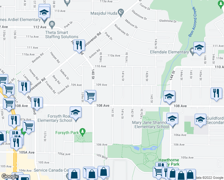 map of restaurants, bars, coffee shops, grocery stores, and more near 10881 141 Street in Surrey