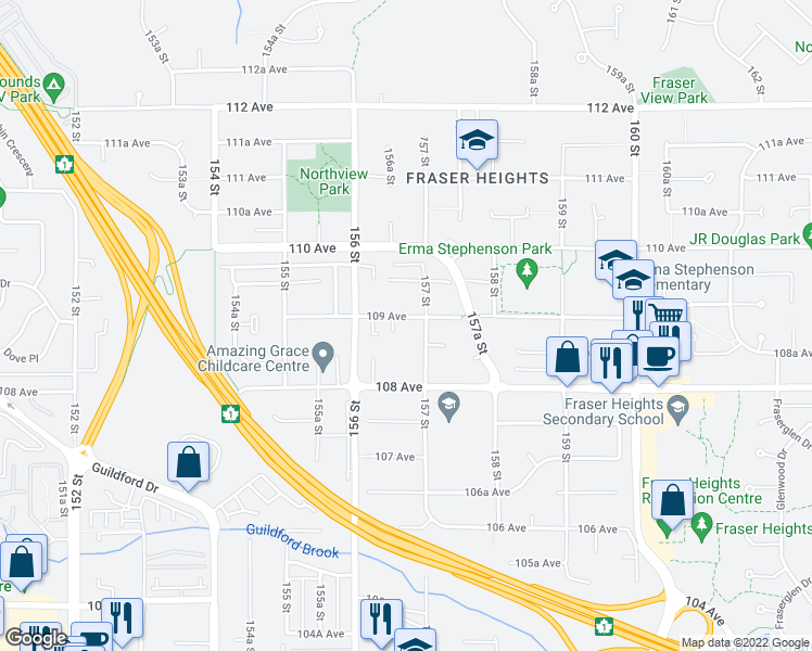 map of restaurants, bars, coffee shops, grocery stores, and more near 15672 109 Avenue in Surrey