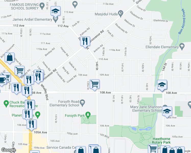 map of restaurants, bars, coffee shops, grocery stores, and more near 10893 140 Street in Surrey