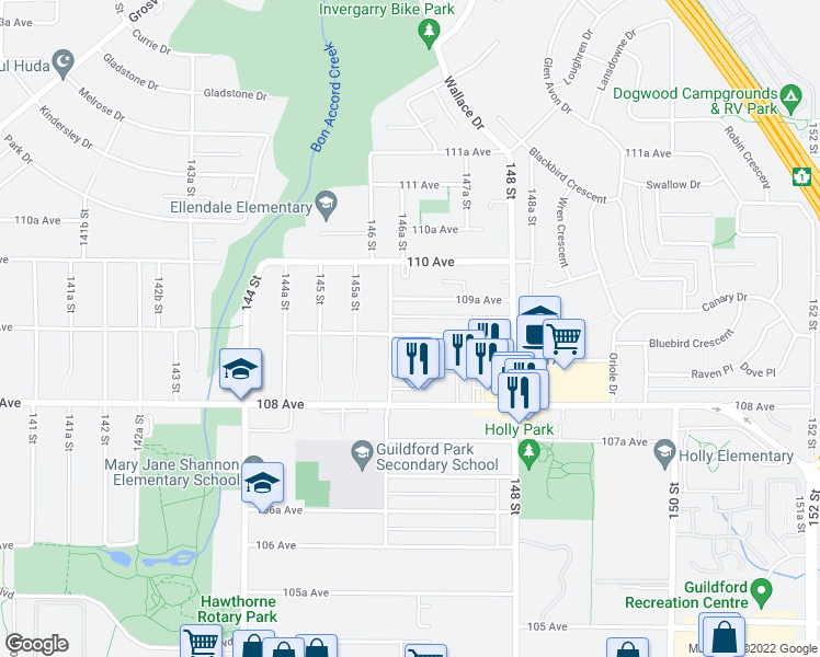 map of restaurants, bars, coffee shops, grocery stores, and more near 14637 109 Avenue in Surrey