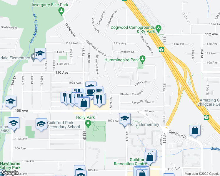 map of restaurants, bars, coffee shops, grocery stores, and more near 10925 Oriole Drive in Surrey