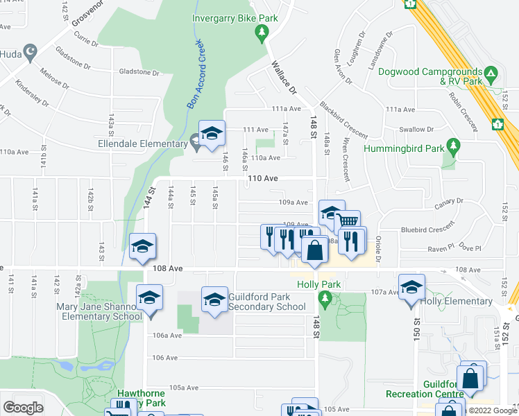 map of restaurants, bars, coffee shops, grocery stores, and more near 14654 109A Avenue in Surrey