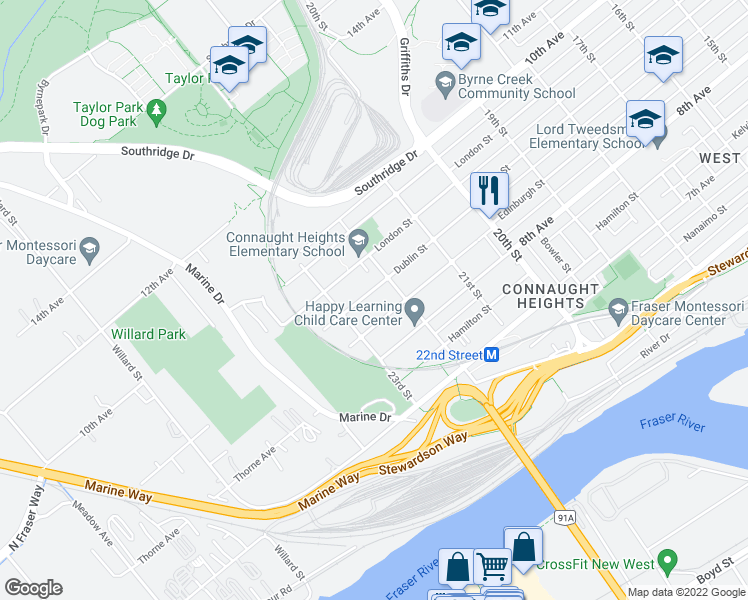 map of restaurants, bars, coffee shops, grocery stores, and more near 2218 Dublin Street in New Westminster