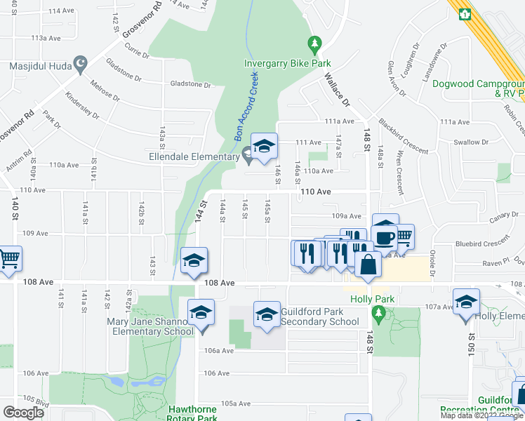 map of restaurants, bars, coffee shops, grocery stores, and more near 10957 145A Street in Surrey