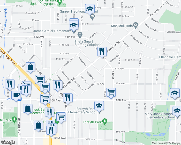 map of restaurants, bars, coffee shops, grocery stores, and more near 13805 Selkirk Drive in Surrey