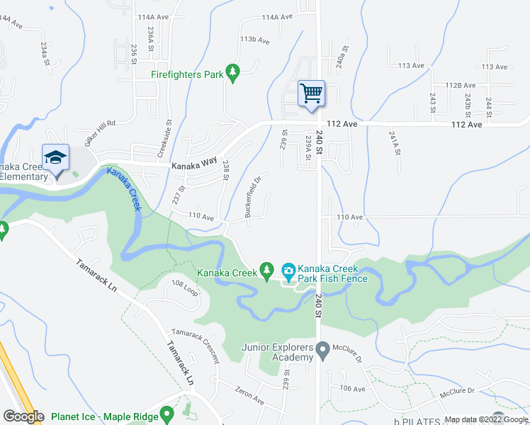 map of restaurants, bars, coffee shops, grocery stores, and more near 11004 Harris Drive in Maple Ridge