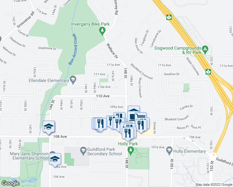 map of restaurants, bars, coffee shops, grocery stores, and more near 14749 110 Avenue in Surrey