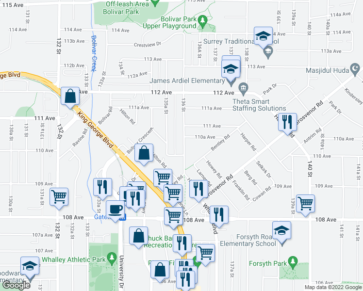 map of restaurants, bars, coffee shops, grocery stores, and more near 11031 136 Street in Surrey