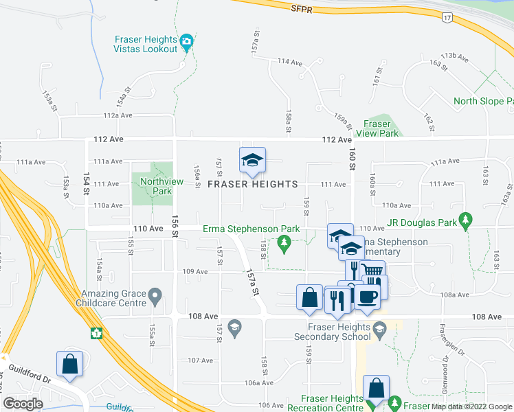 map of restaurants, bars, coffee shops, grocery stores, and more near 11065 158 Street in Surrey