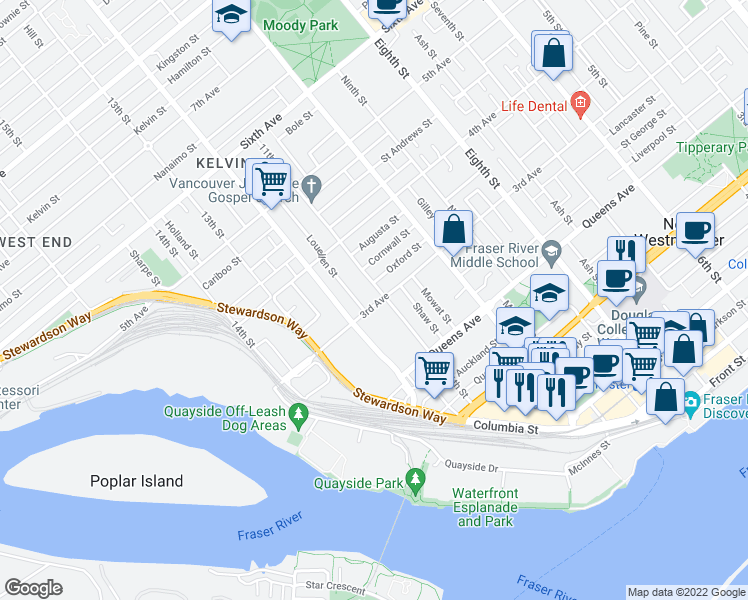 map of restaurants, bars, coffee shops, grocery stores, and more near 1105 3rd Avenue in New Westminster
