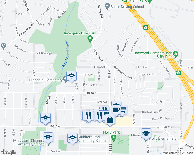 map of restaurants, bars, coffee shops, grocery stores, and more near 11087 147A Street in Surrey