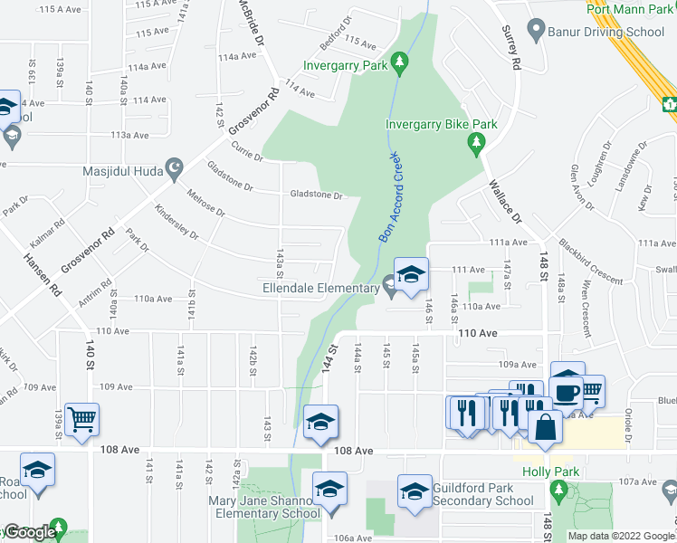 map of restaurants, bars, coffee shops, grocery stores, and more near 11114 Caledonia Drive in Surrey