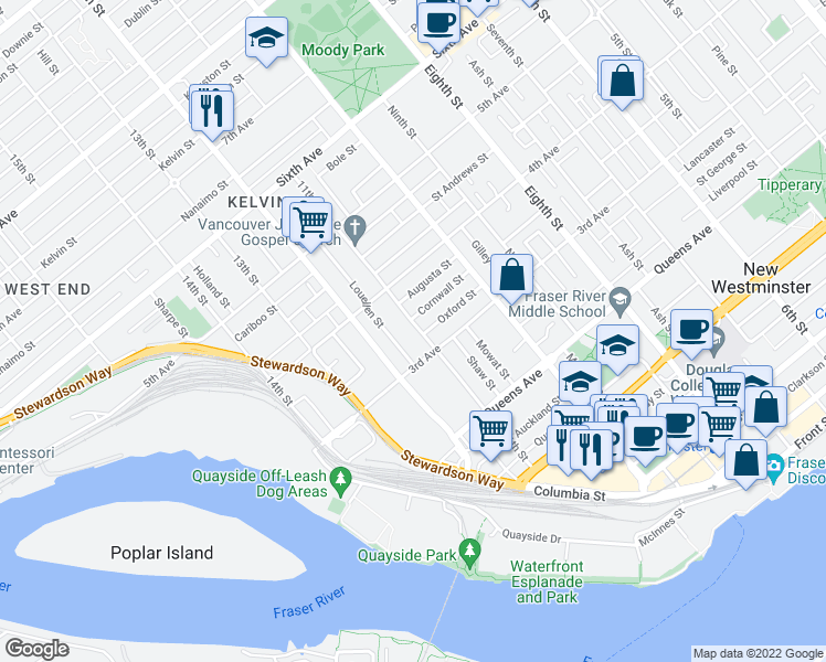 map of restaurants, bars, coffee shops, grocery stores, and more near 314 11th Street in New Westminster